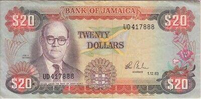 """F-vf """"we Combine"""" Able Jamaica Banknote P68c 7888 20 Dollars 1983"""