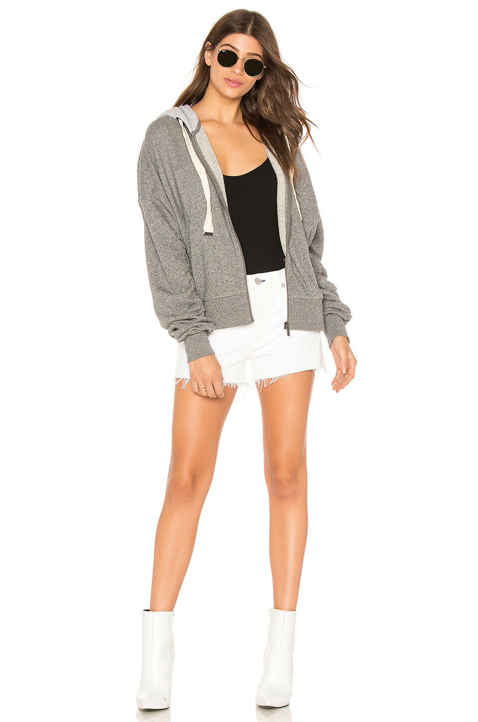 128 NWT SPLENDID SzXS BARRE ACTIVE SHIRRED ZIP FRENCH TERRY HOODIE HEATHER GREY f083f5