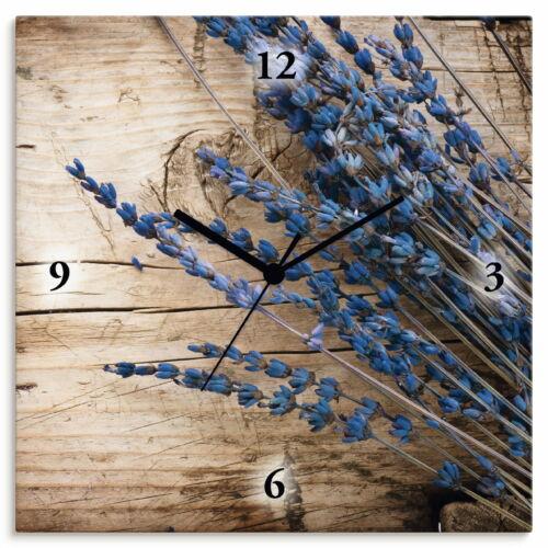 Artland Wanduhr ohne Tickgeräusche Leinwand Quarz Blumen Lavendel Landhaus T9QJ