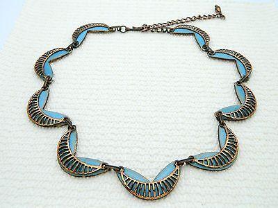 VTG MATISSE RENOIR Unsigned RARE SEINE Design Copper Blue Enamel Necklace