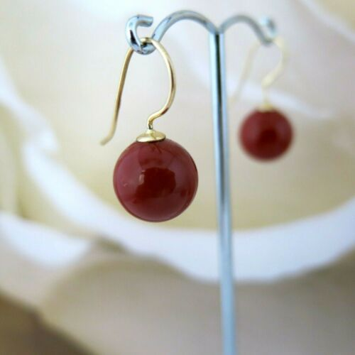 TOP Ohrringe 925er Silber vergoldet Rot KorallenRot aus MuschelkernPerlen 12mm
