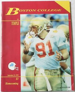size 40 092d2 07b52 Details about 1993 Boston College Eagles vs Temple University Owls Football  Program Hasselbeck