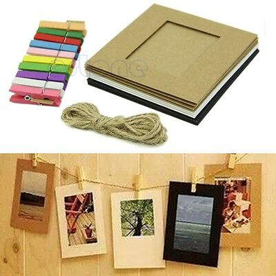 10Pcs 3'' Photo Paper Flim Frame Wall Picture Album DIY Hanging + Rope Camp