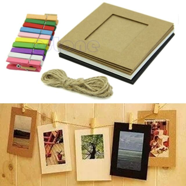 10Pcs 3'' Paper Photo Flim Frame Wall Picture Album DIY Hanging + Rope Camp