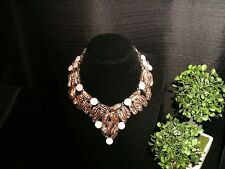 necklace taupe Biwa 925 Silver Cleopatra cluster bib adjustable