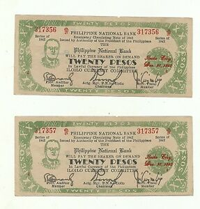 Details about Philippines Emergency Guerrilla Currency Iloilo 2 Sequential  20 Pesos - # 090501