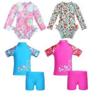 Baby-Girls-One-piece-Swimwear-Floral-Rash-Guard-Ruffled-Swimsuit-Bathing-Suit
