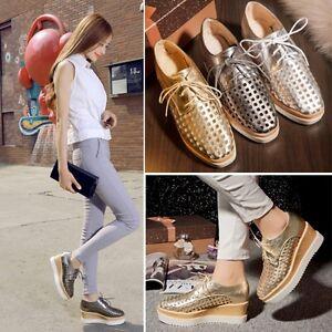 47481e3180e4 Fashion Womens Wedge Mid Heel Mesh Lace Up Oxford Flat Platform ...