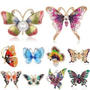 Women-Vintage-Crystal-Rhinestone-Pearl-Butterfly-Brooch-Pin-Bouquet-Wedding-Gift