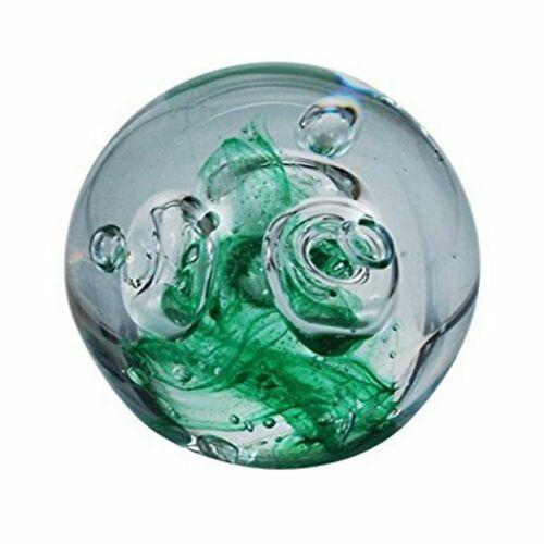 Traumkugel Briefbeschwerer ca 6cm Motiv große Blasen über grünen Grund Handar