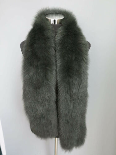 Knitted100/% Genuine fox fur scarf //cape// collar wrap dark green shawl warmful