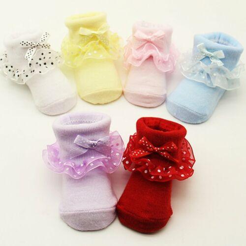 Baby Girl Tutu Socks Bow Lace Newborn Infant Frilly Sock Cotton Short Socks NEW