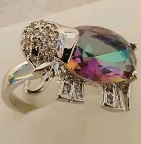 ELEPHANT Mystic Topaze Et Blanc Topaz STERLING RING taille 6//7//8//9