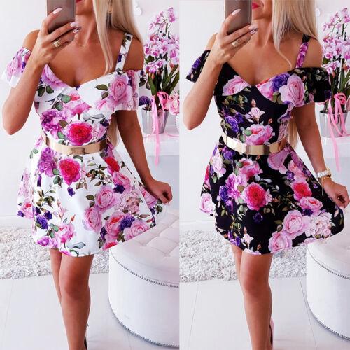 Damen Blumen Ärmellos MinikleidAbendkleid Partykleid Cocktail Skaterkleid Kleid