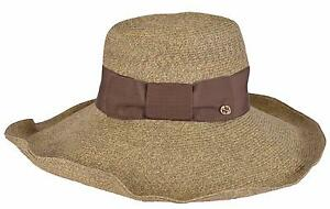 279776ada89 NEW Gucci Women s Brown 309138  435 Wide Brim Floppy Interlocking GG ...