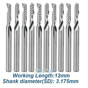 """10x 1//8/"""" Carbide Flat Nose End Mill CNC Router Bits Single-Flute Spiral Tools"""