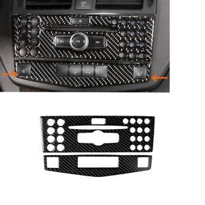 Kohlefaser-Konsole-CD-amp-AC-Panel-Abdeckung-Fuer-Mercedes-Benz-C-Klasse-W204-07-10