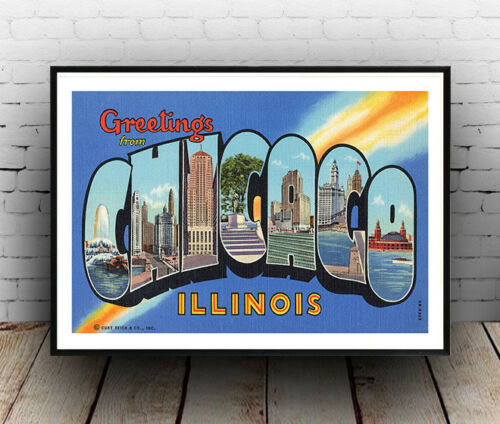 Chicago  vintage Travel poster reproduction.