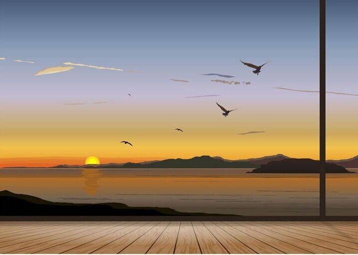 3D 3D 3D Sonnenuntergang Vögel 74 Tapete Wandgemälde Tapete Tapeten Bild Familie DE | Neuheit  | Charmantes Design  |  eb8126