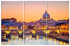 Quadro quadri moderno arredo casa salotto soggiorno 3 pz ROMA al tramonto 80x120