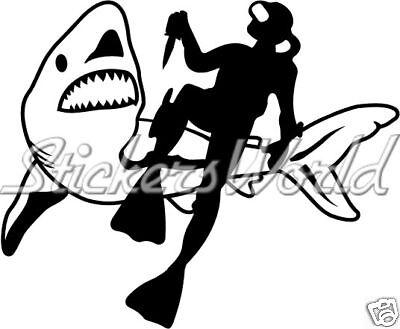 FROGMAN & SHARK Scuba Diver JAWS - Vinyl Sticker, Decal