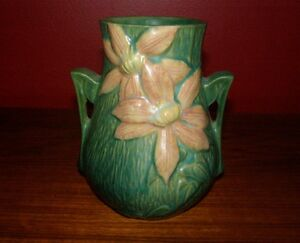 Details about Roseville Pottery Clematis Vase 103-6