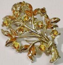broche bijou rétro couleur or cristal citrine feuillage ajouré * 5201