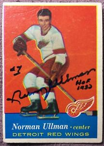 1957-58-TOPPS-46-NORM-ULLMAN-ROOKIE-CARD-AUTOGRAPHED-EX-inscribed-HOF-1982