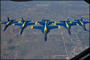 USN Blue Angels F/A-18 Super Hornets Refueling Over Texas 2021 8x12 Photos