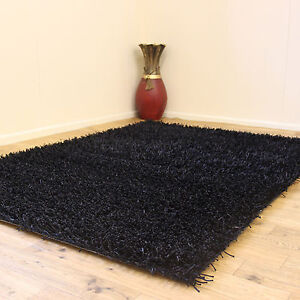 LARGE SMALL MODERN THICK PLAIN SOFT SPARKLE SHAGGY BLACK NON SHED 3cm PILE RUGS