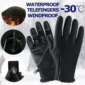 Hommes-Gants-chauds-d-039-hiver-Moufle-thermique-ecran-tactile-impermeable-au-vent