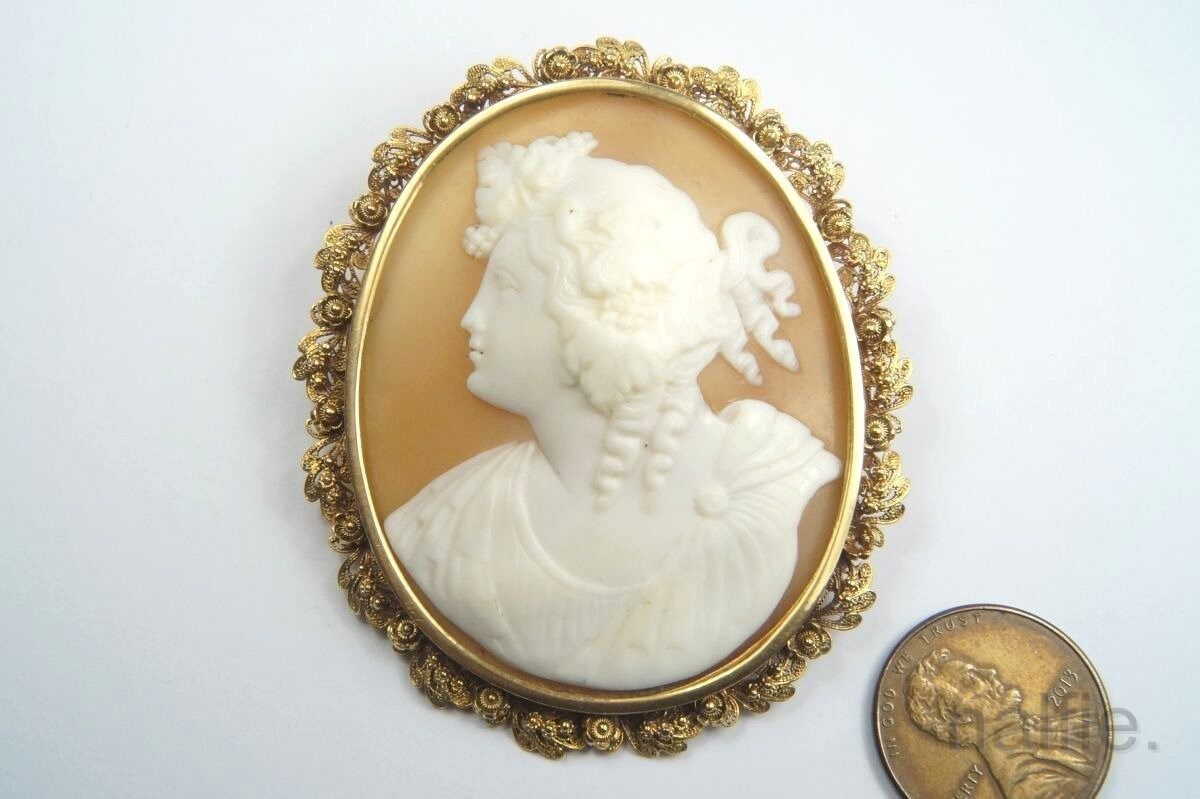 70e74e638b986 SHELL gold 15K VICTORIAN ANTIQUE BACCHANTE CARVED c1800's BROOCH ...