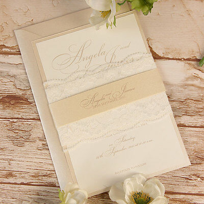 Peach Lace Rustic Wedding Invitation Personalised Handmade SAMPLE