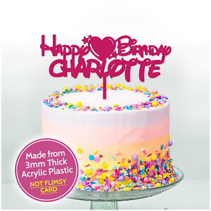 Remarkable Happy Birthday Cake Topper Love Heart Birthday Cake Decoration Personalised Birthday Cards Bromeletsinfo
