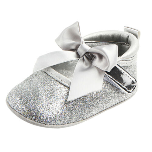 Newborn Baby Girl Bling Crib Pram Shoes Toddler Soft Flat Shoes Prewalker