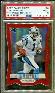 Cam-Newton-2012-Panini-Prizm-Red-Prizm-Die-Cut-1st-Year-Rookie-Card-26-PSA-9