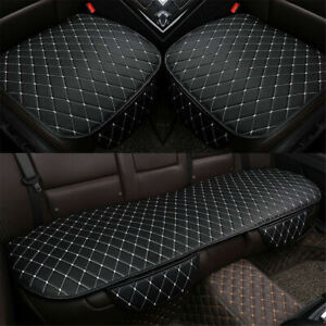 3X-Black-White-PU-Leather-Auto-Car-Interior-Front-amp-Rear-Seat-Cover-Cushion-Mat