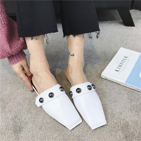 Chaussons élégant sabot blanc basses élégant confortable comme cuir 9842