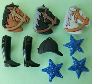 TRIPLE-CROWN-Horse-Race-Boots-Hat-Jockey-Stars-Dress-It-Up-Novelty-Craft-Buttons