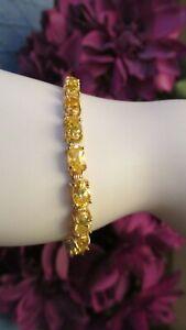 14K-Yellow-Gold-Oval-Cut-Yellow-Golden-Citrine-Tennis-Bracelet