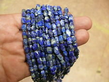 (H7342B) Lapis Lazuli  strand 7 inch (17,5 cm) Hand Carved  beads 5x9mm Old Stoc
