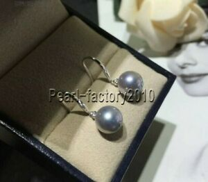 AAA natural 10-11 MM grey south sea pearl earrings 14K white GOLD