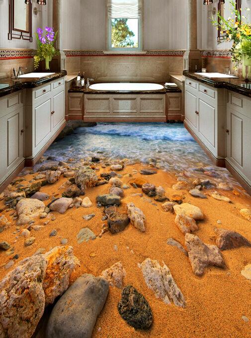 3D Pietra Spiaggia 325 Pavimento Foto Wallpaper Murales Muro Stampa Decalcomania