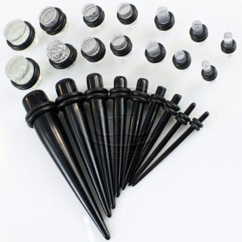 23 Pc Ear Taper PLUG Kit 14G-00G 1.6mm-10mm Gauges Expander Set Stretchers