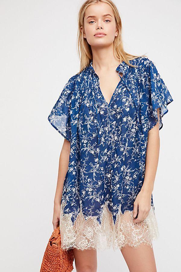 Free People MariGold Lace-Hem Printed Dress Blau Mult Sz