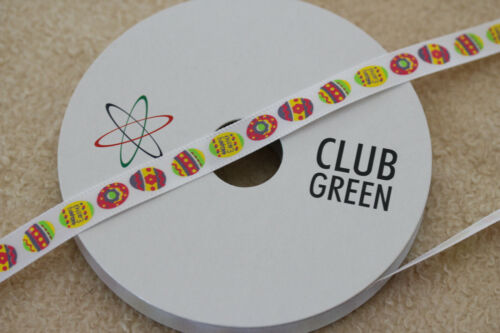 """QUALITY WHITE SATIN 10mm EASTER EGG /""""HAPPY EASTER/"""" RIBBON BY CLUB GREEN"""
