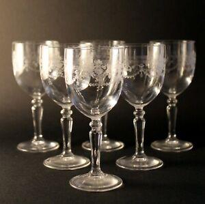 Détails sur 6 verres à vin rouge cristal d'arques modèle dampierre