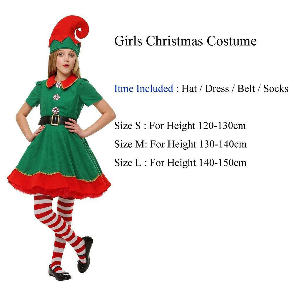 SANTA/'S LITTLE HELPER ELF CHRISTMAS Age 4-10 Girls Childs Fancy Dress Costume
