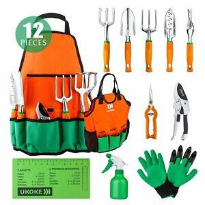 Ukoke 12 Piece Aluminum Garden Tool Kit & Gardening Apron with Storage Pocket