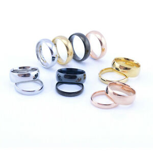 Men-039-s-Women-039-s-Stainless-Steel-Black-or-18k-Gold-High-Polished-Wedding-Band-Ring